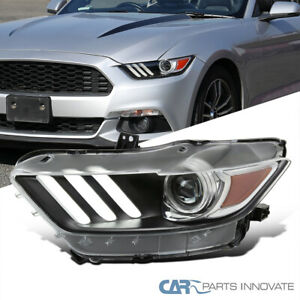 For 15-17 Ford Mustang 18-20 Shelby Black Left Side Projector Headlight+LED Bar