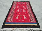 Hand Knotted Vintage Morocco Pictorial Kilim Kilm Wool Area Rug 3.5 x 1.10 Ft