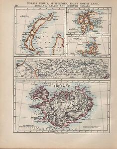 1900 VICTORIAN MAP ~ ICELAND ~ CORINTH CANAL FRANZ JOSEPH LAND SPITZBERGEN