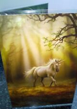Anne Stokes Greetings Card with Envelope -  Glimpse Of A Unicorn in a Forest.