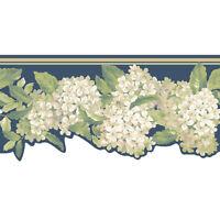 Off White Hydrangea Floral on Navy Blue Laser Cut Sure Strip Wall Border AK7439B