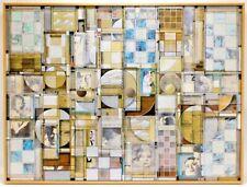 "Mixed Media Acrylic Collage Roderick Slater Original Art Lg. 30x48"" Framed NICE!"