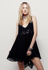 New $88.00 FREE PEOPLE Black Lace She Swings Print Slip Dress Size M Bohemian