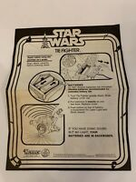 STAR WARS TIE FIGHTER INSTRUCTION SHEET ANH VINTAGE KENNER 1977 DEATH STAR VADER