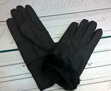 black ladies women 100% genuine real leather sheepskin gloves mittens winter
