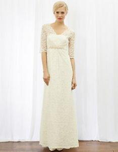MONSOON Wedding Dress JESSICA UK 8 Ivory Lace Empire Waist BNWT Rrp  £299