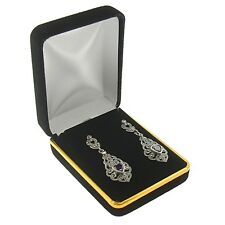 Black Velvet Pendant Stud Earring Box Display Jewelry Gift Boxes Gold Trim 1 Dzn