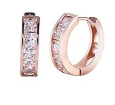 Rose gold finish  princess cut hoop created diamond earrings