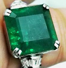 12.14 Ct Natural Emerald ring Zambian Engagement gold Diamond,estate, colombian