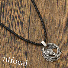 Mens Viking Crow Head Necklace Black Leather Chain Silver Alloy Pendant