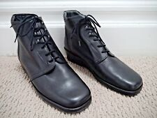 NEW MEPHISTO $399 black leather lace-up low wedge ankle boots size 7.5
