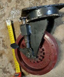 4 x Very Heavy Duty Solid Metal Castor Wheels FLEXELLO 200mm 8'' PU Tyre +Bolt