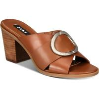 DKNY Womens Cavi Faux Leather Open Toe Stacked Heel Mules Shoes BHFO 0907