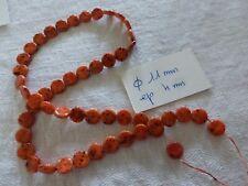lot 50 perle vintage ancienne en verre perle ronde plate galet orange noir
