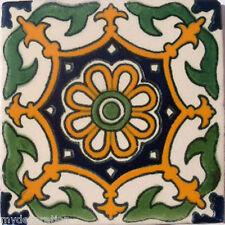 C#061) MEXICAN TILES CERAMIC HAND MADE SPANISH INFLUENCE TALAVERA MOSAIC ART