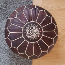 100% Leather Stunning Dark Tan Moroccan Ottoman or Pouf or Pouffe