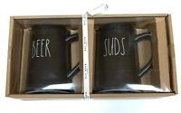 RAE DUNN 'BEER' and 'SUDS' Black Ceramic Steins Pint Size Mugs Gift Set