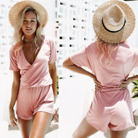 Womens Short Sleeve Deep V Neck Short Jumpsuit Summer Beach Romper Playsuit New