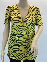 River Island Elegant Satin Retro Neon Animal Printed Blouse Button Up Top Size S