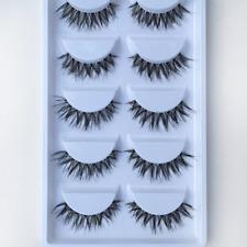 5Pair 3D Black Natural Bushy Cross False Eyelashes Mink Hair Handmade Eye Lashes