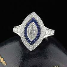 14k White Gold Over 2.89 Ct Vintage Sapphire & Diamond Engagement Wedding Ring