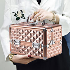 Cosmetic Beauty Case Portable Makeup Case Box Mirror Organiser Diamond Rose Gold