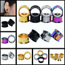 2PCS Stainless Steel Double Flared Tunnels Expander Screw Fit Ear Gauges Plugs