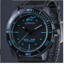 ALPINESTARS TECH WATCH 3H STEEL CASE BLACK BLUE FACE CANVAS STRAP XMAS GIFT