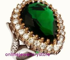 925 Sterling Silver Authentic Pear Cut  Ring Emerald Hurrem Sultan Green Drop