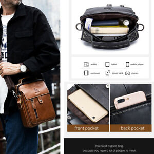 Men Top Layer Genuine Cowhide Crossbody Bag Phone File Wallet Day Shoulder Bag