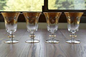 "4 Arte Italica Medici Gold 6 3/8"" Water Goblet Glasses, Glossy Drape Swag Design"