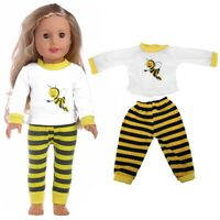 Doll Stripe Tops & Pants Clothes Suit Toy Accessories For 18inch Baby Girl Doll#