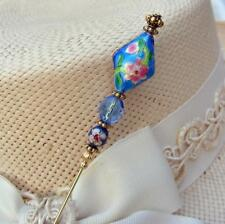 Aqua Blue Cloisonne And Crystal Hatpin with Pink Flowers - 6 inch Hat Pin