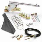 Floor Mnt E-Brake HandleGray Boot, Chr Ring, Cable Kit, GM Clevis