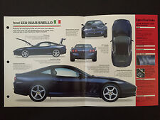 1998 FERRARI 550 MARANELLO IMP Hot Cars Spec Sheet Folder Brochure RARE