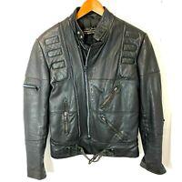 Vintage Harley Davidson Hein Gericke Leather Biker Jacket Size 38 Long Black