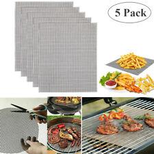 5pcs Bbq Grill Mat Mesh Non Stick Reusable Sheet Resistant Cooking Barbecue Pad
