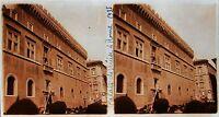 Italia Palazzo di Venezia per Roma Foto Stereo Targa di Vetro Vintage 1935