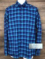 ETON Contemporary Men's Blue Purple Plaid Long Sleeve Button Front Shirt 39 15.5