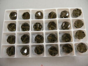 24 new preciosa round crystal beads,14mm black diam.