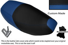 ROYAL BLUE & BLACK CUSTOM FITS PIAGGIO SKIPPER 125 DUAL LEATHER SEAT COVER