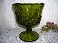 GREEN GLASS IVY AND GRAPES PEDESTAL COMPOTE VINTAGE