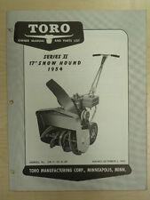 "1954 TORO SERIES 2 SNOW HOUND 17"" OPERATING PARTS MANUAL SN# 2R - 7 - 101 & UP"