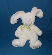 First & Main White Bunny Rabbit Plush Stuffed Fluffy Bow Pink nose