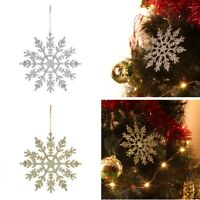 6x Glitter Snowflakes Christmas Decorations Xmas Tree Hanging Ornaments 6 COLOUR