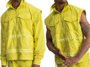 PUMA Alteration convertible Jacket Vest- NEW- $175 -yellow lined athletic coat-