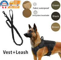 NEW Tactical Police K9 Training Dog Harness Military Adjustable Nylon Vest Leash