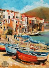 YARY DLUHOS Cefalu Italy Mediterranean sea Sicily Limited Edition ACEO Print Art