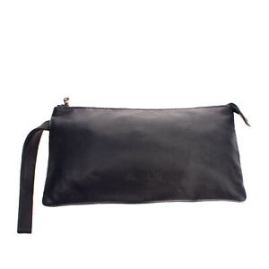 VINTAGE DE LUXE Leather Clutch Bag HANDMADE CRAFT LIMITED Zipped Made in Italy