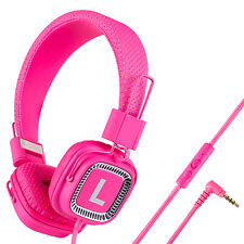 Kanen Women Gilrs Kids Adults Headphones with Mic Foldable Adjustable 3.5mm Pink